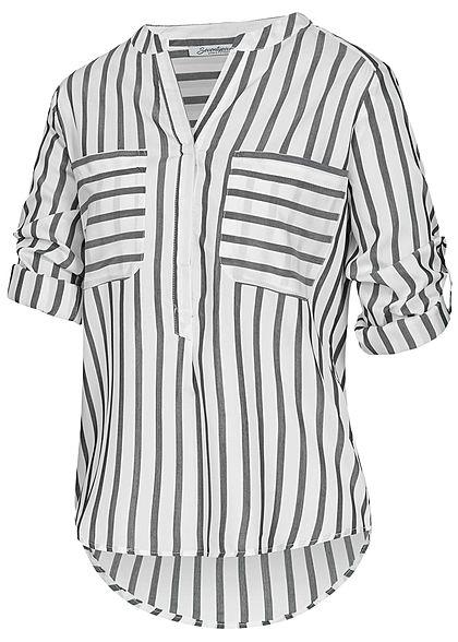 Seventyseven Lifestyle Damen Turn-Up Bluse Streifen Muster 2 Brusttaschen grau weiss