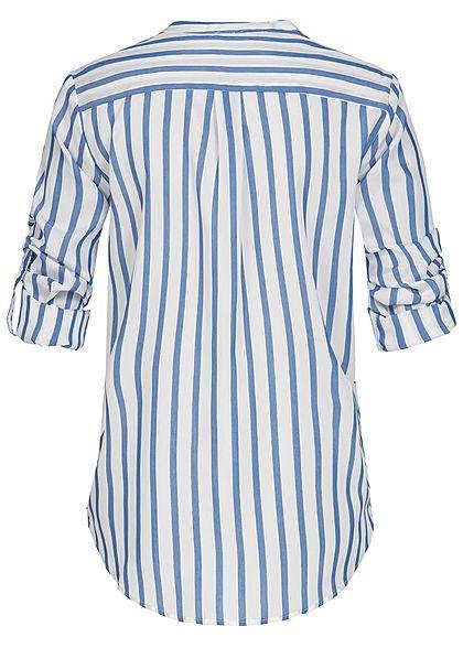 Seventyseven Lifestyle Damen Turn-Up Bluse Streifen Muster 2 Brusttaschen blau weiss