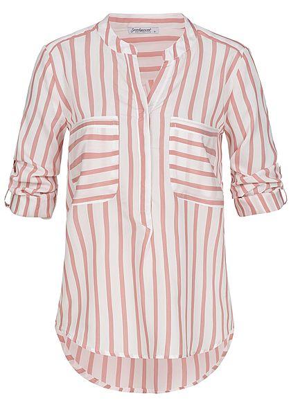 b1a89975 Seventyseven Lifestyle Damen Turn-Up Bluse Streifen Muster 2 Brusttaschen  rosa weiss - 77onlineshop