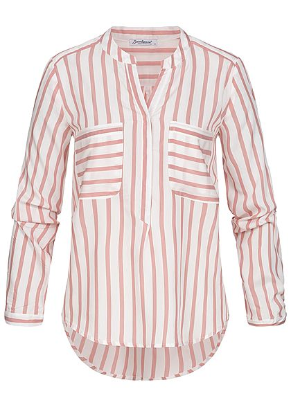 Seventyseven Lifestyle Damen Turn-Up Bluse Streifen Muster 2 Brusttaschen rosa weiss