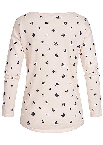 Seventyseven Lifestyle Damen Sweater Schmetterling Muster rosa schwarz