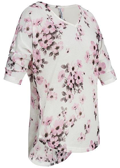 Seventyseven Lifestyle Damen 3/4 Arm Shirt Blumen Muster off weiss rosa