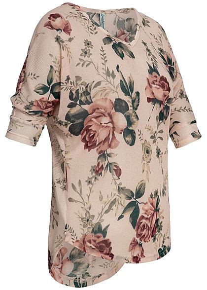 Seventyseven Lifestyle Damen 3/4 Arm Shirt Rosen  Muster old rosa rot grün
