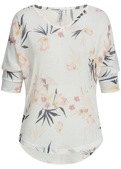 Seventyseven Lifestyle Damen 3/4 Arm Shirt Florales Muster off weiss rosa gelb