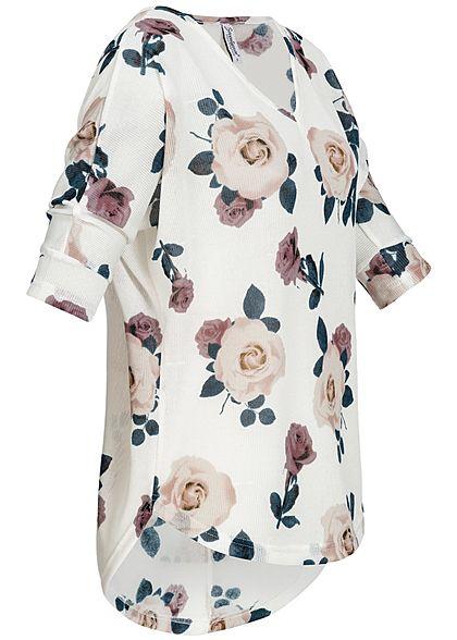 Seventyseven Lifestyle Damen 3/4 Arm Shirt Rosen Muster off weiss rosa grün