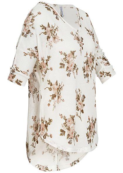 Seventyseven Lifestyle Damen 3/4 Arm Shirt Rosen Muster off weiss rosa braun