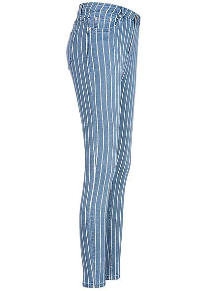Seventyseven Lifestyle Damen Skinny Jeans Hose 5-Pocktes Streifen Muster blau weiss