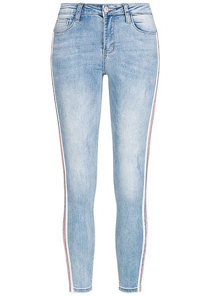 Seventyseven Lifestyle Damen Skinny Jeans Hose Samtstreifen 5-Pockets medium blau denim