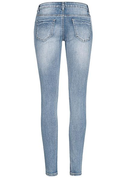 Seventyseven Lifestyle Damen Skinny Jeans Hose Destroy Look 5-Pockets medium blau denim