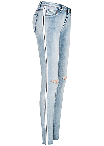 Seventyseven Lifestyle Damen Skinny Jeans Hose Destroy Look 5-Pockets medium blau denim