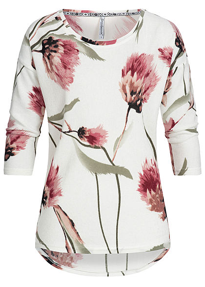 Seventyseven Lifestyle Damen 3/4 Arm Soft Shirt Blumen Muster off weiss rosa