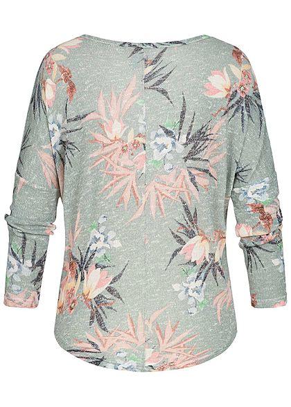 Seventyseven Lifestyle Damen Longsleeve Shirt Florales Muster teal grün weiss rosa