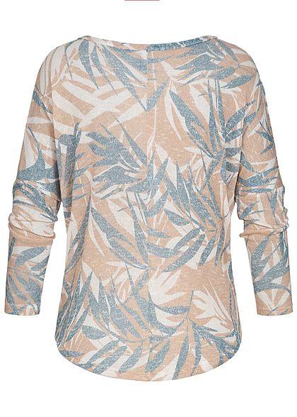 Seventyseven Lifestyle Damen Longsleeve Shirt Florales Muster rosa weiss blau