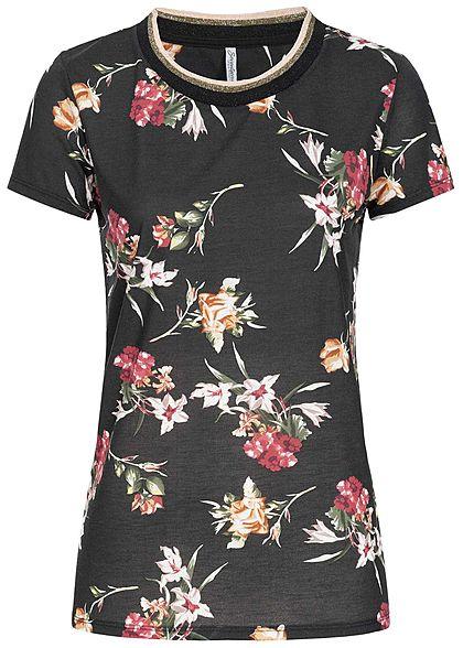 ef9f39ff6fc7d Seventyseven Lifestyle Damen T-Shirt Blumen Muster Glitzer schwarz rot weiss  gold - 77onlineshop