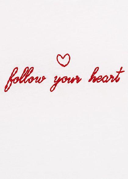 Hailys Damen T-Shirt follow your heart Stickerei off weiss rot