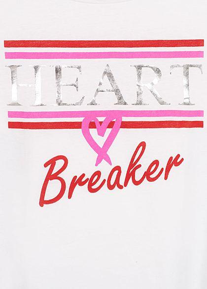 Seventyseven Lifestyle Damen T-Shirt HEART Breaker Print off weiss pink rot