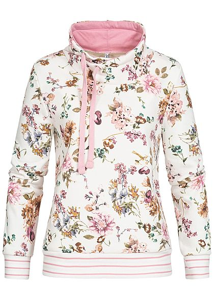 Seventyseven Lifestyle Damen High-Neck Sweater Blumen Muster off weiss rosa