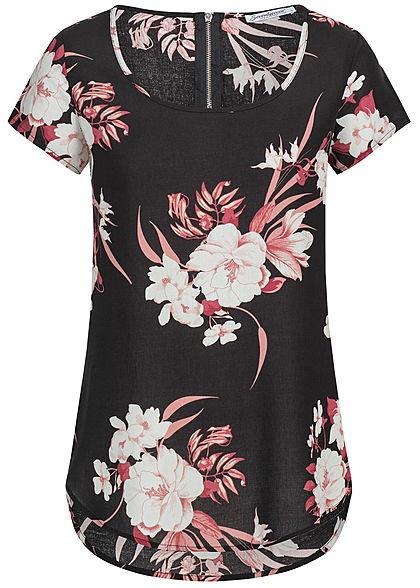 c38084dbbe7f51 Seventyseven Lifestyle Damen Blusen Top Blumen Muster schwarz rosa weiss