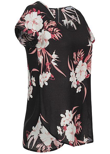 Seventyseven Lifestyle Damen Blusen Top Blumen Muster schwarz rosa weiss