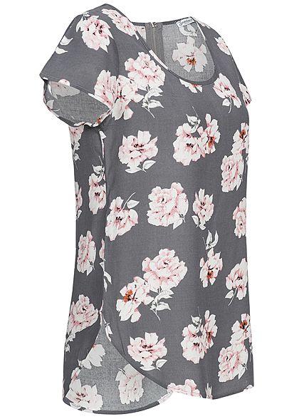Seventyseven Lifestyle Damen Blusen Top Blumen Muster grau rosa