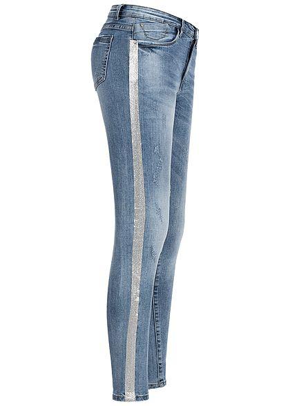5b904b6f552a9c Seventyseven Lifestyle Damen Skinny Jeans Hose 5-Pocktes Kontraststreifen hell  blau den - 77onlineshop