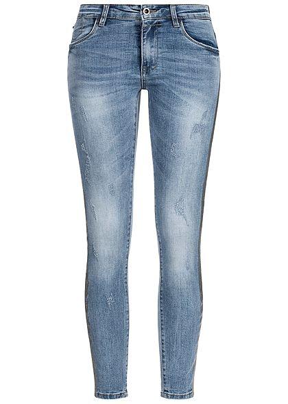 Seventyseven Lifestyle Damen Skinny Jeans Hose 5-Pocktes Kontraststreifen hell blau den