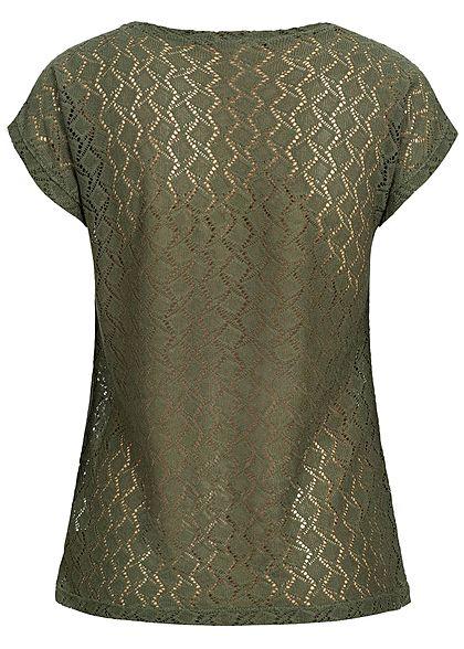 Seventyseven Lifestyle Damen T-Shirt Cut Out khaki grün