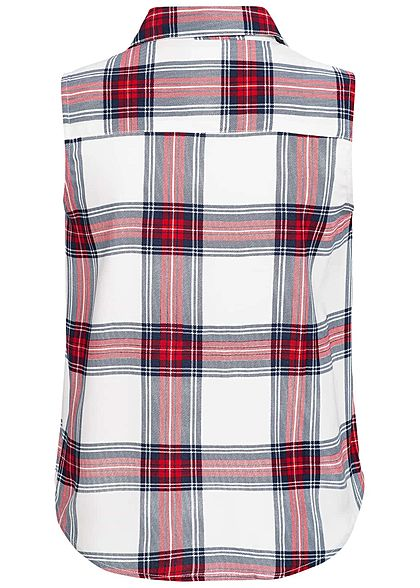 Seventyseven Lifestyle Damen Check Blouse 2 Breast Pockets rot weiss blau