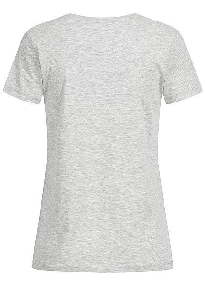 Seventyseven Lifestyle Damen T-Shirt Frontprint hell grau