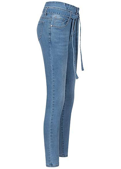 Seventyseven Lifestyle Damen Paper-Bag Skinny Jeans Belt 5-Pockets medium blau denim