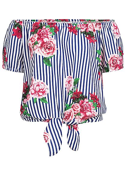 Hailys Damen Off-Shoulder Top Tie-Knot Stripes & Flower Print navy blau weiss rosa