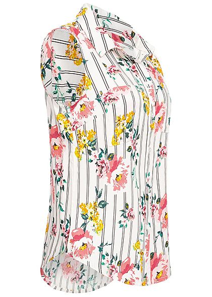 Hailys Damen Blouse Top Flower Print 2 Brest Pockets off weiss rosa gelb grün