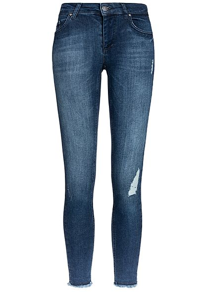 ONLY Woman Ankle Skinny Jeans 5-Pockets Destroy Look Regular Waist NOOS medium blau denim