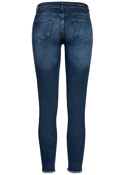 ONLY Damen Ankle Skinny Jeans 5-Pockets Destroy Look Regular Waist NOOS medium blau denim