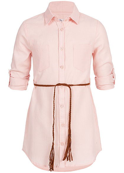 Hailys Kids Mädchen Longform Turn-Up Blouse Belt rosa