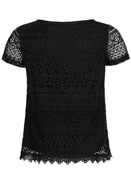 Hailys Kids Mädchen 2-Layer Crochet T-Shirt schwarz