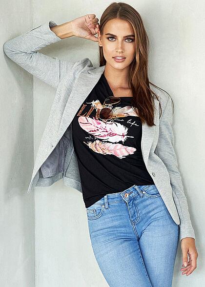 Vero Moda Damen NOOS V-Neck Jersey Blazer 2-Pockets Regular Fit hell grau melange