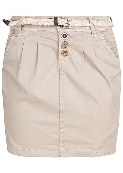 Eight2Nine Damen Mini Skirt Belt 4-Pockets Buttons sand beige