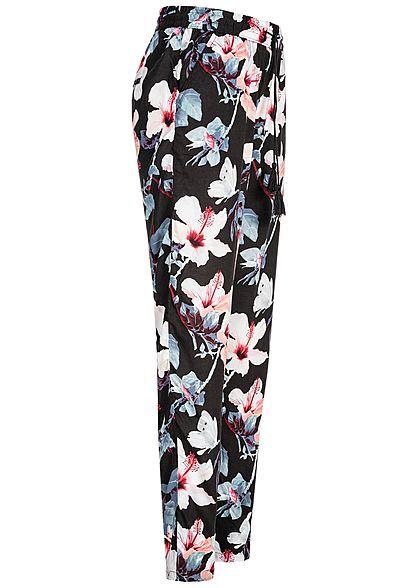 Eight2Nine Damen Trousers Floral Print 2-Pockets schwarz multicolor