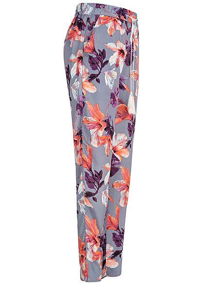 Eight2Nine Damen Trousers Floral Print 2-Pockets blau grau multicolor
