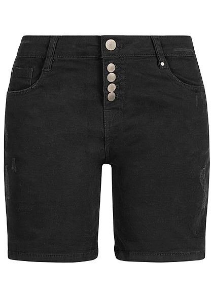 Eight2Nine Damen Bermuda Shorts 5-Pockets Destroy Look schwarz denim