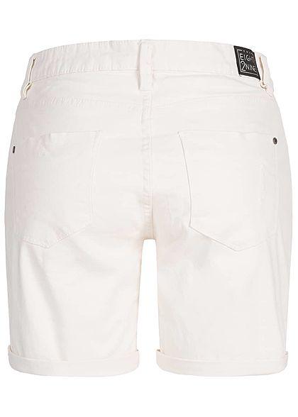Eight2Nine Damen Bermuda Shorts 5-Pockets Destroy Look weiss denim
