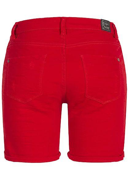 Eight2Nine Damen Bermuda Shorts 5-Pockets Destroy Look rot denim