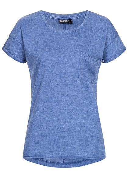 Eight2Nine Damen T-Shirt Breast Pocket medium blau mel