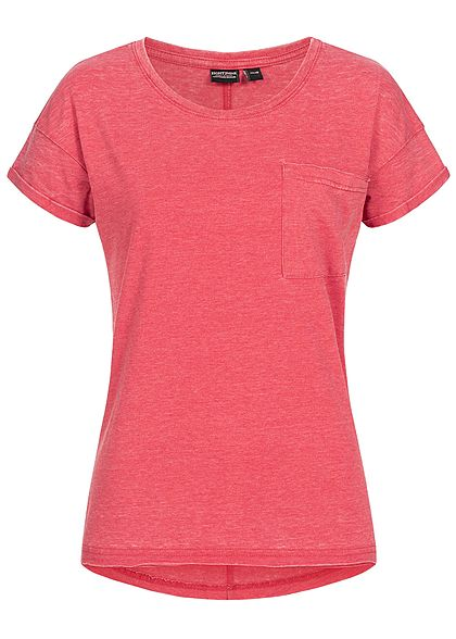 Eight2Nine Damen T-Shirt Breast Pocket rot melange