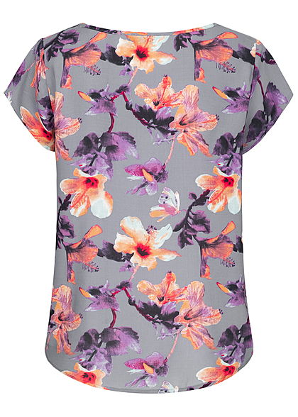 Eight2Nine Damen Blouse Shirt Flower Print blau grau lila
