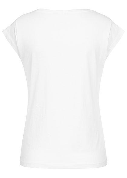 Hailys Damen Casual T-Shirt Ananas Patch vorne off weiss