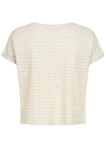 Hailys Damen Oversized Striped T-Shirt hell grau gelb