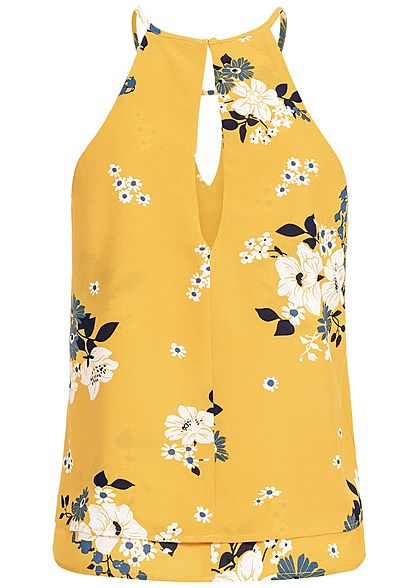 ONLY Damen 2-Layer Chiffon Top Floral Print NOOS vibrant gelb weiss