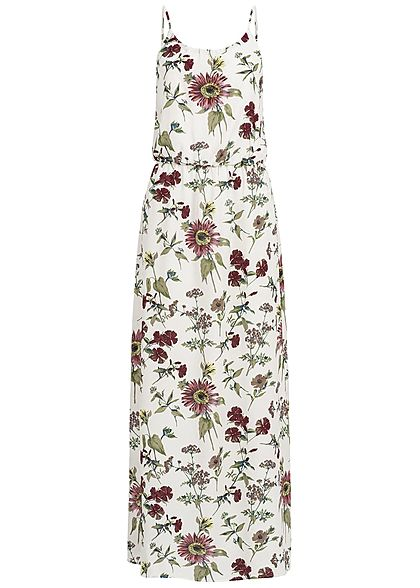 ONLY Damen Maxi Dress Flower Print NOOS cloud dancer weiss multicolor